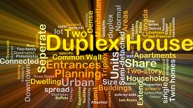 image of duplex  - Background concept wordcloud illustration of duplex house glowing light - JPG