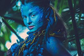 stock photo of avatar  - Avatar woman in a magical forest - JPG