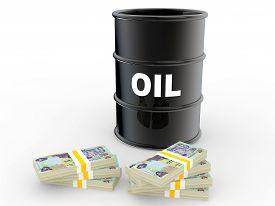 stock photo of dirham  - 3d render of oil barrel and UAE 500 dirham currency notes - JPG