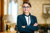Постер, плакат: Concept for businesswoman in expensive hotel