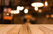 Selected Focus Empty Brown Wooden Table And Coffee Shop Blur Background With Bokeh Image, For Produc poster