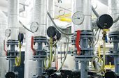 pic of manometer  - Modern boiler room equipment for heating system - JPG