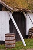 stock photo of acadian  - an old storage building in the louisbourg fortress - JPG