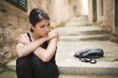 Woman with sad face crying.Sad expression,sad emotion,despair,sadness. poster