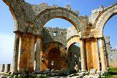 stock photo of euphrat  - ruins of historic simonis abbey in syria - JPG