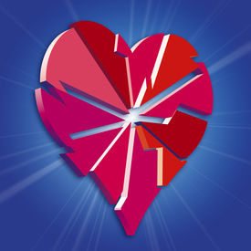 image of broken-heart  - an illustration of a broken valentine love heart - JPG