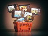 Shopping backet and old TV sets with different channels on the screens. Advertising tv channels conc poster