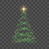 Green Christmas Tree On Transparent Background Happy New Year Vector Illustration poster
