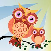 Four Owls, On A Fantastic Tree Branch, Decorated With Flowers. poster