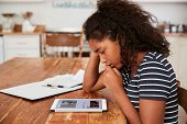Teenage Girl At Home Using Digital Tablet Being Bullied On Line poster
