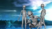 3D render of a science fiction landscape with grey alien creatures poster