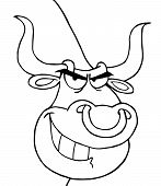 foto of nose ring  - Outlined Grinning Bull With A Nose Ring - JPG