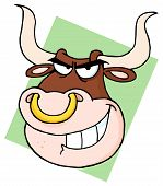 picture of nose ring  - Bull With Nose Ring On Green Background - JPG