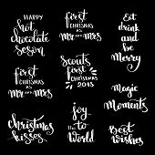 Christmas Hand Drawn Lettering Design Set. Handwritten Christmas Quotes And Wishes Modern Calligraph poster