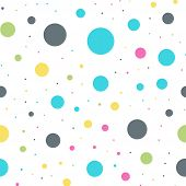 Colorful Polka Dots Seamless Pattern On White 10 Background. Awesome Classic Colorful Polka Dots Tex poster