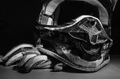 Постер, плакат: Motocross Helmet And Gloves
