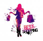 Shopping woman silhouette.Best shopping, vector illustration with splashes.
