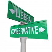A green two-way street sign pointing to Liberal and Conservative, representing the two dominant poli