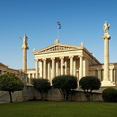 stock photo of socrates  - Academy of Athens and statues of Socrates On the columns are goddess Athena and Apollo - JPG