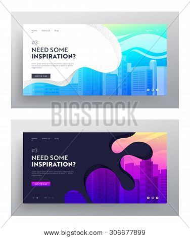 poster of City Buildings Website Landing Page Set. Town Apartment Banner, Cityscape And Modern Townscape, Urba