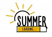 Doodle Summer Loading Illustration Screen. Progress Bar Almost Reaching Summer. Vector Illustration  poster