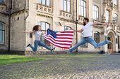 Explore Usa. Vacation And Travel. Independence Day. National Holiday. Bearded Hipster And Girl Jumpi poster