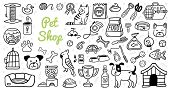 Cute Pets Stuff And Supply Icons Set In Doodle Style. Vet Symbol Collection. Cartoon Dog, Cat, Parro poster