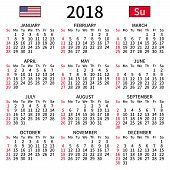 2018 Year Calendar. Simple, Clear And Big. English Language. Week Starts On Sunday. Sunday Highlight poster