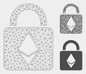 Mesh Ethereum Lock Model With Triangle Mosaic Icon. Wire Frame Triangular Mesh Of Ethereum Lock. Vec poster
