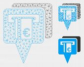Mesh Euro Atm Pointers Model With Triangle Mosaic Icon. Wire Carcass Polygonal Mesh Of Euro Atm Poin poster