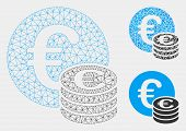 Mesh Euro Coin Stack Model With Triangle Mosaic Icon. Wire Frame Polygonal Mesh Of Euro Coin Stack.  poster