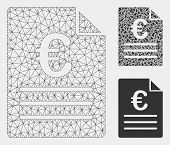 Mesh Euro Document Model With Triangle Mosaic Icon. Wire Frame Polygonal Mesh Of Euro Document. Vect poster