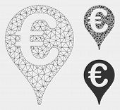 Mesh Euro Map Pointer Model With Triangle Mosaic Icon. Wire Frame Triangular Mesh Of Euro Map Pointe poster