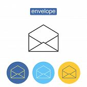 Commercial Mailing Outline Icons Set. Business Correspondence Sign For Mobile Application. Open Mail poster