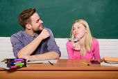 Enjoying Time In College. Guy And Girl Sit Classroom. Studying In College Or University. Friends Stu poster