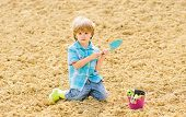 Little Boy Planting Flower In Field. Fun Time At Farm. Happy Childhood Concept. Child Having Fun Wit poster
