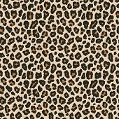 Leopard Print. Vector Seamless Pattern. Animal Skin Background With Black And Brown Spots On Beige B poster