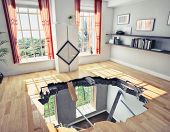 broken  floor of a residential apartment (illustrated concept)