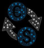 Bright Mesh Euro Dollar Change With Lightspot Effect. Abstract Illuminated Model Of Euro Dollar Chan poster