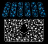 Bright Mesh Ethereum Store With Glare Effect. Abstract Illuminated Model Of Ethereum Store Icon. Shi poster