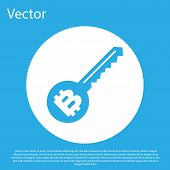 Blue Cryptocurrency Key Icon Isolated On Blue Background. Concept Of Cyber Security Or Private Key,  poster