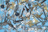 Keys Set On Blue Background. Door Lock Keys And Safes For Property Security And House Protection. Di poster
