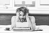 Man Writer Lay Bed With Breakfast Working. Writer Handsome Author Used Old Fashioned Manual Typewrit poster