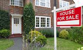 For Sale Sign Outside A House In An Affluent Suburb Of London poster