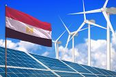 Egypt Solar And Wind Energy, Renewable Energy Concept With Windmills - Renewable Energy Against Glob poster