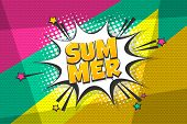 Summer Comic Text Speech Bubble Pop Art. Comics Book Halftone Geometric Background. Vector Dialogue  poster