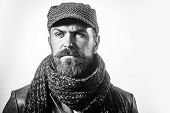 Bearded Hipster Man In Jacket, Wool Cap, Knitted Scarf. Stylish Brutal Bearded Man Wears Hat, Scarf& poster