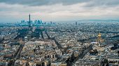 Aerial View Of Eiffel Tower And Paris City. Elevated View Of Cityscape With Tour Eiffel In Cloudy An poster