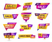 Sale Badges. Discount Price Tag Sticker, Vivid Advertising Offer And Sales Wow Badge. Offers Promo L poster