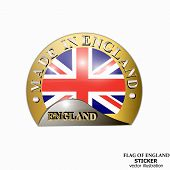 Made In England Sticker. Bright Sticker With Flag Of England. Vector Illustration With Flag. Happy E poster